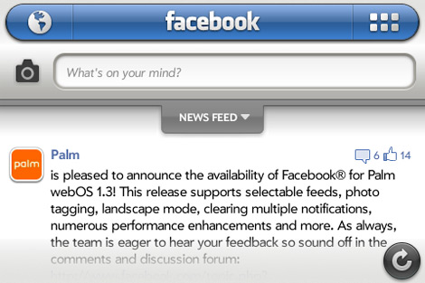 facebook 1.3 palm webos