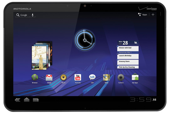 motorola xoom android 3 front