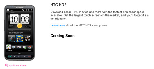 t-mobile htc hd2 coming soon